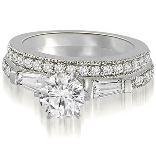 1.45 cttw. 14K White Gold Round And Baguette Cut Diamond Bridal Set