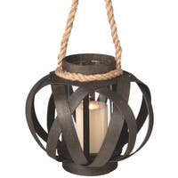 """11"""" Small Brown Open Weave Pillar Candle Lantern with Rope Handle"""