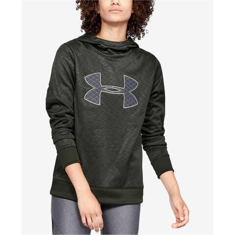 Under Armour Womens Printed Logo Hoodie Sweatshirt, Green, Medium