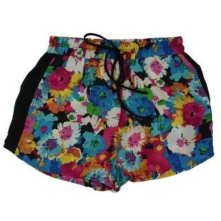 Vigoss Womens Casual Shorts Floral Print Contrast Trim