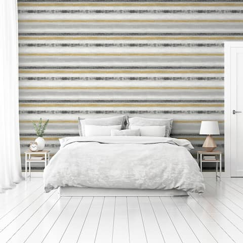 Arthouse Painted Stripe Ochre & Grey Non-Woven Peel & Stick Wallpaper