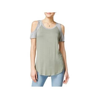 Ultra Flirt Womens Pullover Top Cold Shoulder Heathered - l