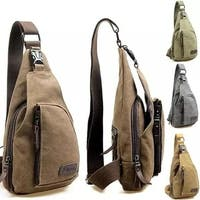Cool Outdoor Sports Casual Canvas Unbalance Backpack Crossbody Sling Bag Shoulder Bag Chest Bag for Men