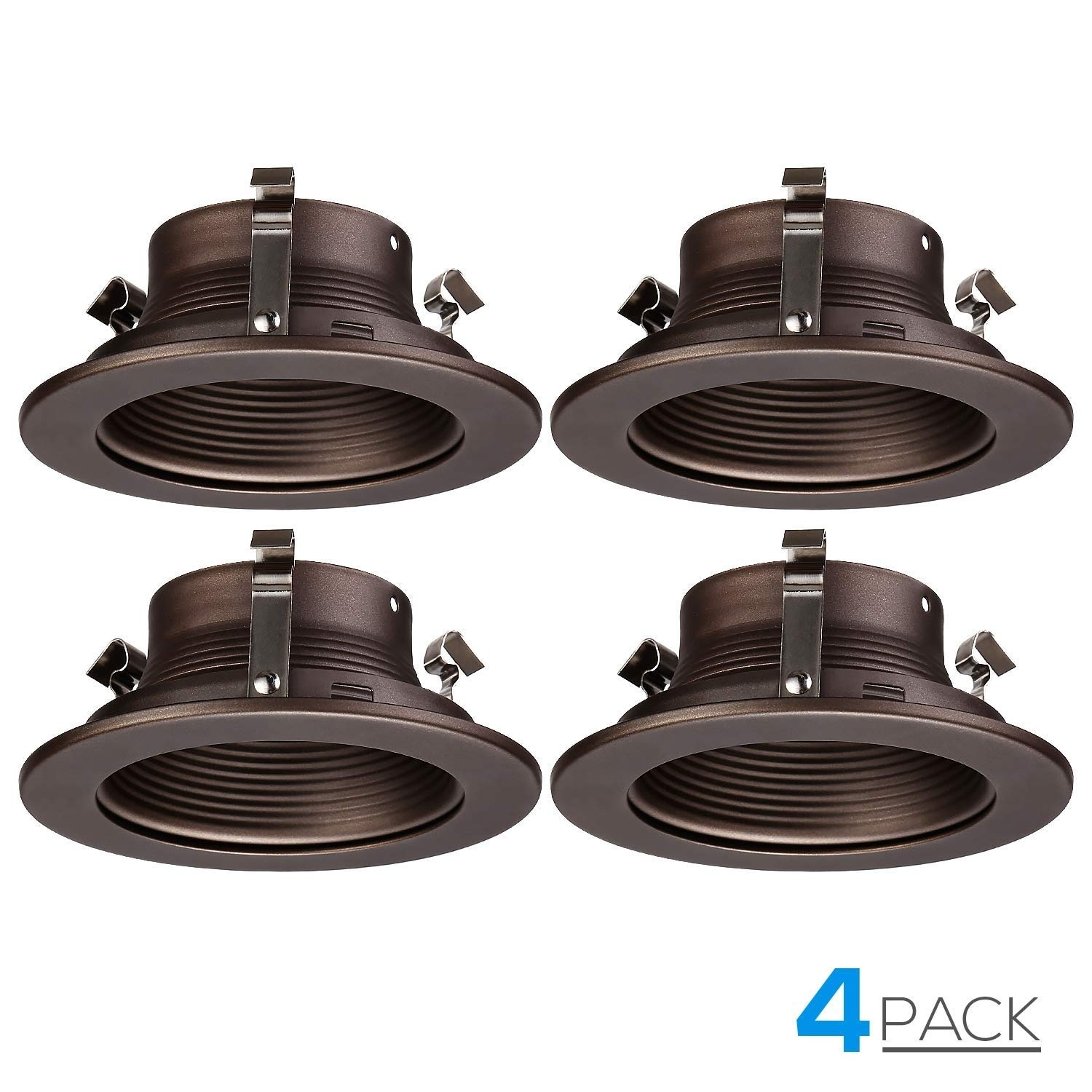 super popular 7b45a be08c TORCHSTAR 4-Pack 4 Inches Can Light Trim, Oil Rubbed Bronze Metal