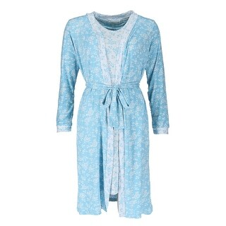 Sag Harbor Women's Floral Sleeveless Night Gown and Robe Set