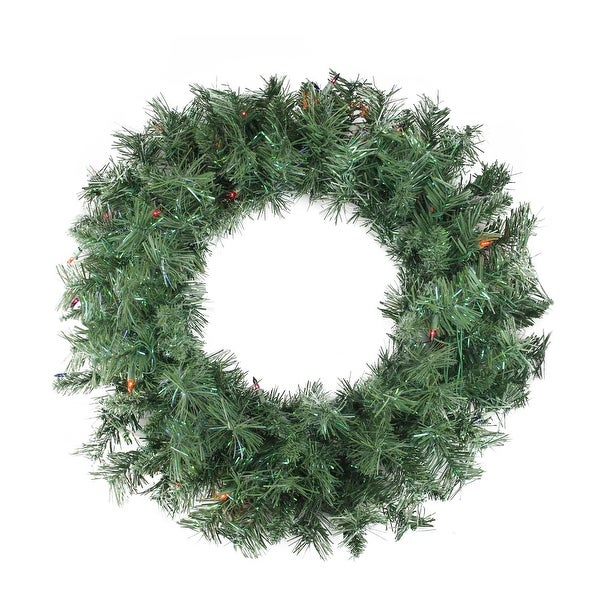 "24"" Pre-lit Minetoba Pine Artificial Christmas Wreath - Multi Lights"