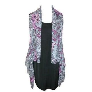 CTM® Women's Sheer Lightweight Fun Vest Shawl - Purple - One Size