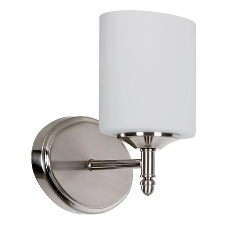 Iris Bathroom Vanity Light, Metal Wall Sconce with White Glass Shade