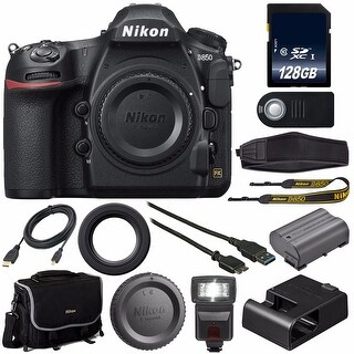 Nikon D850 DSLR Camera (Body Only) + 128GB SDXC Card + Mini HDMI Cable + Universal Remote Release + Pro Hand Camera Grip Bundle