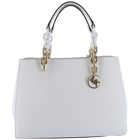 MICHAEL Michael Kors Cynthia Saffiano Leather Satchel (Optic White) - Medium