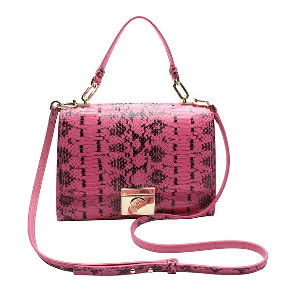 Versace Collection Reptile Pattern Leather Small Shoulder Handbag - Pink - S