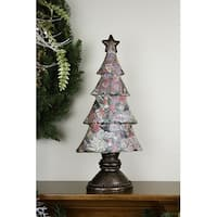 "20"" Antique-Style Victorian Holly Berry Decoupage Christmas Tree Table Top Decoration - multi"
