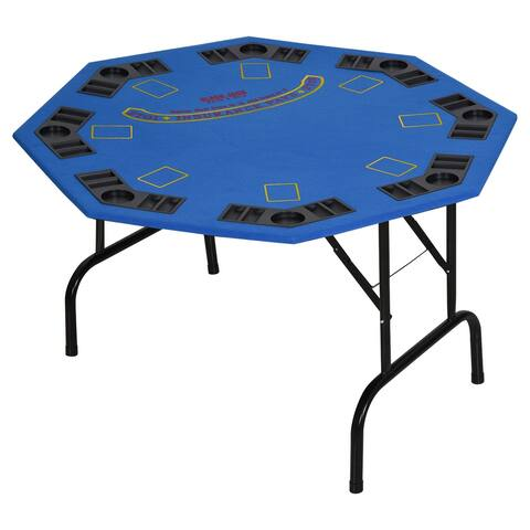 """Soozier 47"""" 8 Player Folding Octagon Poker Table Blackjack Poker Game with Cup Holders"""
