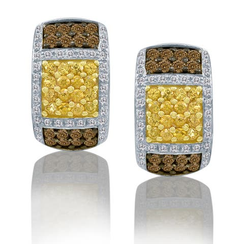 Encore by Le Vian Yellow Sapphire & Chocolate Diamond 14K Yellow Gold Earrings