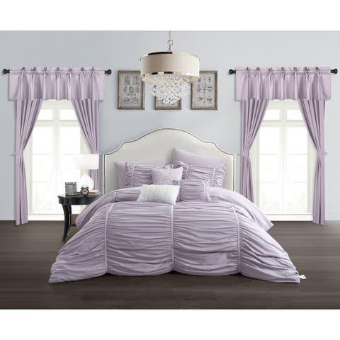 Chic Home Hallstatt 20 Piece Comforter Set Designer Bed in a Bag Bedding, Lilac