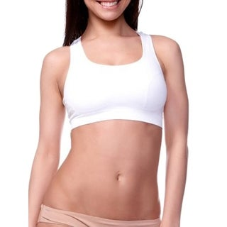 Shock Absorbers Seamless Double Layered Sports Top Bra V978, White, Medium