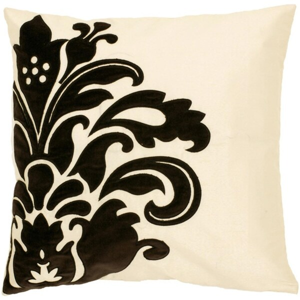 "18"" Black and Ivory Floral Decorative Square Throw Pillow - Down Filler"