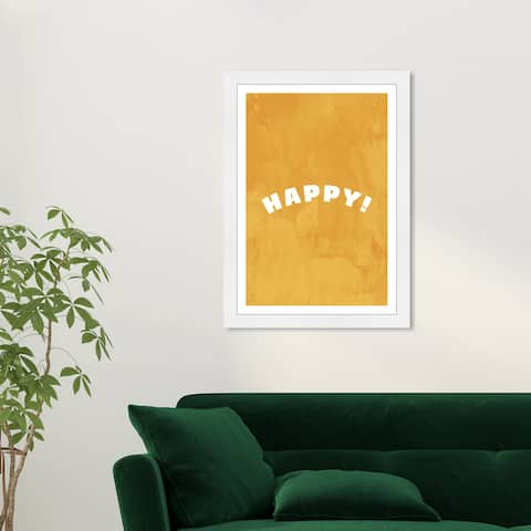 Wynwood Studio 'Happy and Yellow' Typography and Quotes Yellow Wall Art Framed Print