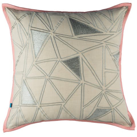 Abstract Geometric Decorative Handmade Cotton Throw Pillow Cover, 18x18