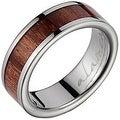 Titanium Wedding Band With Koa Wood Inlay 6 mm - Thumbnail 0