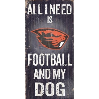 Oregon State Beavers Sign Wood 6x12 Football And Dog Design