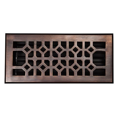 "The Copper Factory CF140 4 x 10"" Solid Cast Copper Decorative 4""x10"" Floor Register with Damper -"
