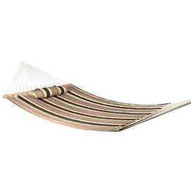 Sunnydaze 2-Person Quilted Hammock with Spreader Bars and Detachable Pillow