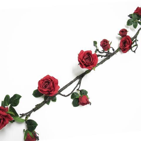 7.25ft Deluxe Rose & Bud Flower Vine Garland