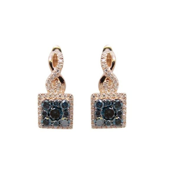 0.84 Carat Round Brilliant Cut Blue Diamond With Diamond Hoop Earring, 10k Rose Gold