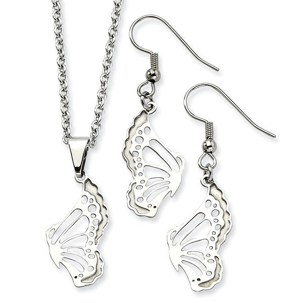 Chisel Stainless Steel Butterfly Wire Earrings and Pendant Set