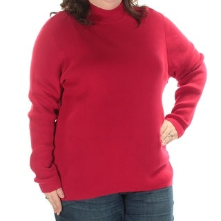 KAREN SCOTT Womens New 1385 Red Long Sleeve Turtle Neck Sweater 2X Plus B+B