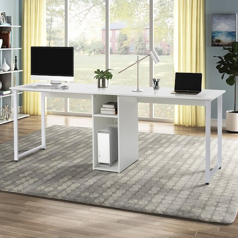 Nestfair Home Office 2-Person Desk Workstation Desk with Storage