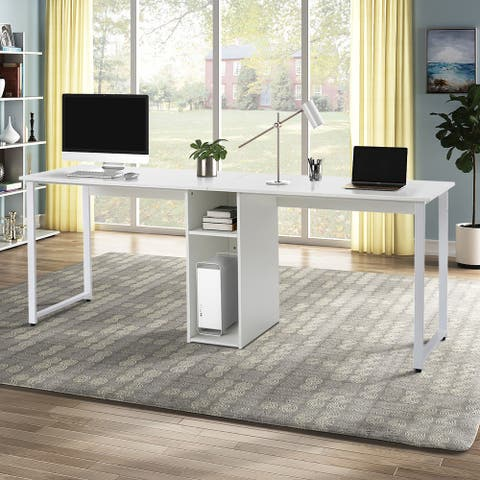 TiramisuBest Home Office 2-Person Desk, Large Double Workstation Desk