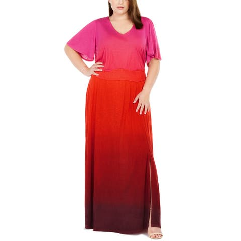INC International Concepts Women's Plus Size Ombre Flutter-Sleeve Maxi Dress Red Size 3 Extra Large
