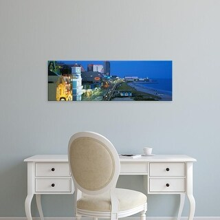 Easy Art Prints Panoramic Images's 'View of a city street lit up at night, Atlantic City, New Jersey, USA' Canvas Art