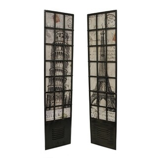 Pair of European Travel Vintage Postcard Motif Metal Wall Panels - brown