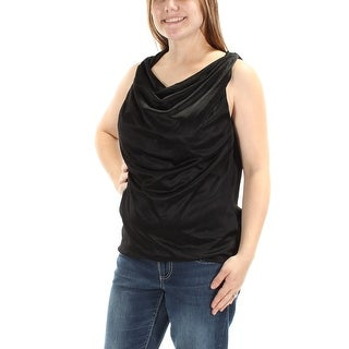 ANNE KLEIN $69 Womens New 1672 Black Cowl Neck Sleeveless Casual Top M B+B