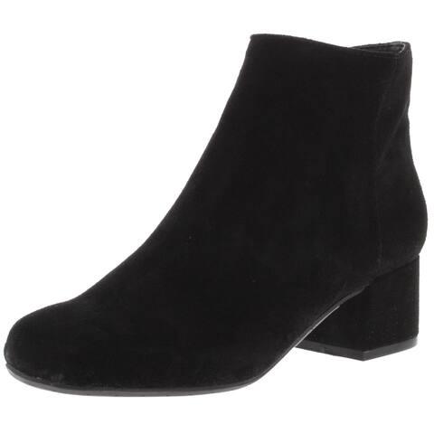 Kenneth Cole Womens Rellie Booties Nubuck Block Heel - Black - 6 Medium (B,M)