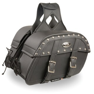 Black Leather Motorcycle Saddle Bags 10.5X15X6X18