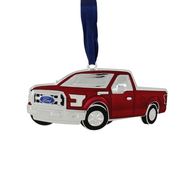 "4"" Officially Licensed Red Ford F-150 Pick Up Truck Collectible Silver Plated Christmas Ornament"