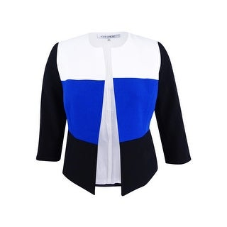 Kasper Women's Petite Colorblocked Blazer - cobalt multi