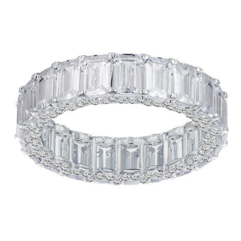 13.20 cttw Emerald-Cut Cubic Zirconia Eternity Band, Sterling Silver