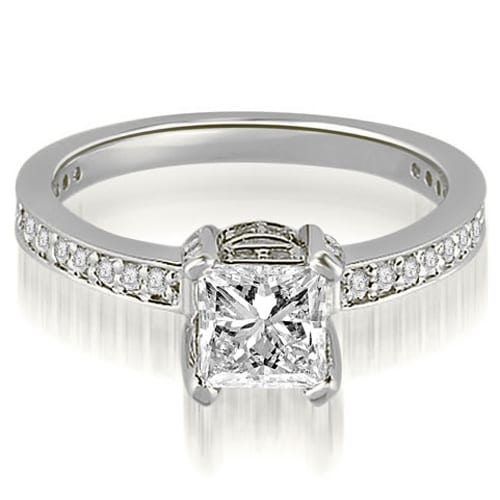 0.90 cttw. 14K White Gold Princess And Round Cut Diamond Engagement Ring