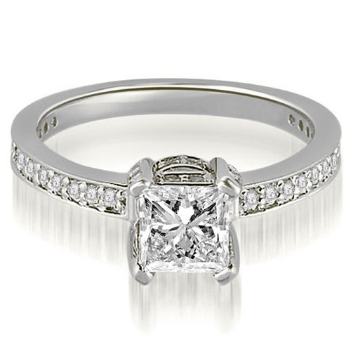 1.15 cttw. 14K White Gold Princess And Round Cut Diamond Engagement Ring