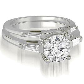 0.80 cttw. 14K White Gold Round Baguette Cut Three Stone Diamond Bridal Set
