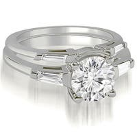 1.30 cttw. 14K White Gold Round Baguette Cut Three Stone Diamond Bridal Set