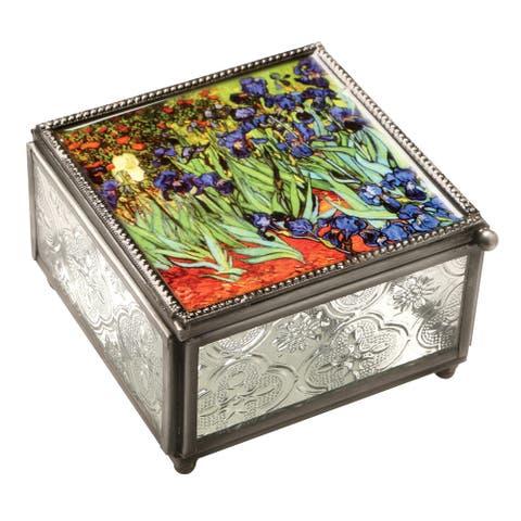 "Art & Artifact van Gogh Irises Trinket Box - Pressed Glass Jewelry Box, 4"" x 4"" - Multicolor - 4 Inch x 2.5 Inch x 4 Inch"