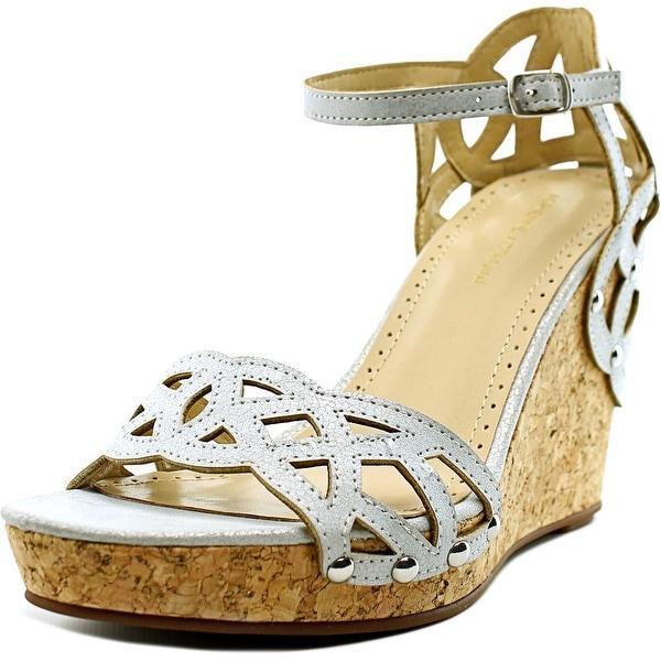Adrienne Vittadini Chavi Women Open Toe Synthetic Silver Wedge Sandal
