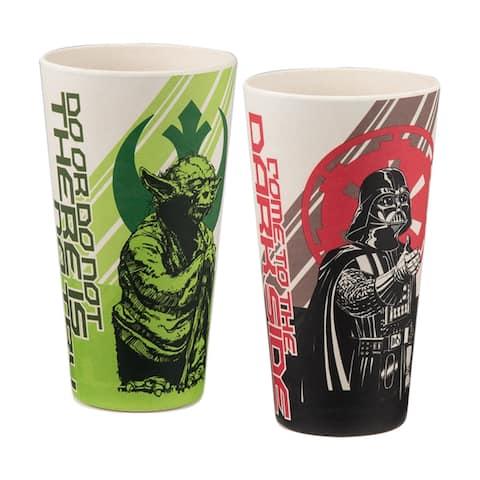 Star Wars 24oz Cups Bamboo Tumblers 2 Piece Set Darth Vader, Yoda