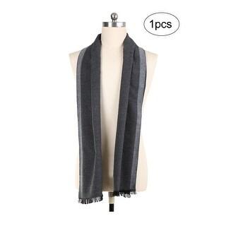 Men Plaids Pattern Warm Soft Wrap Shawl Long Scarves Dark Gray+Light Gray - dark gray+light gray